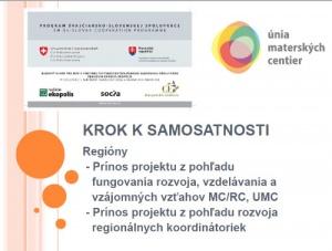 Tvorba a implementácia akčných plánov v regiónoch MC a RC